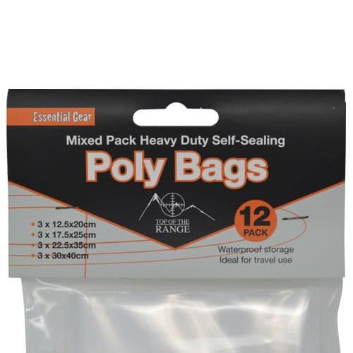 Essential Gear Heavy Duty Self Sealing Bags - 12 Pack