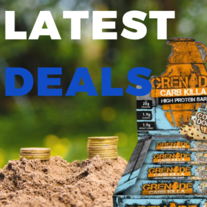 Text that says 'latest deals' alongside a box of grenade protein bars in a forest